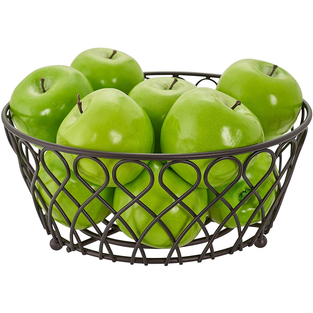 Home Intuition Loop Collection Bronze Fruit Bowl for Kitchen and Dining Room Tables