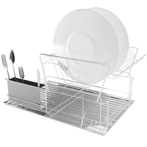 2-Tier Steel Dish Rack Set, Chrome
