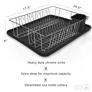 3-Piece Dish Drying Rack Drainer Set, Black