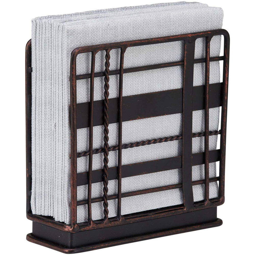 Home Intuition Plaid Collection Standing Napkin Holder - Antique Black