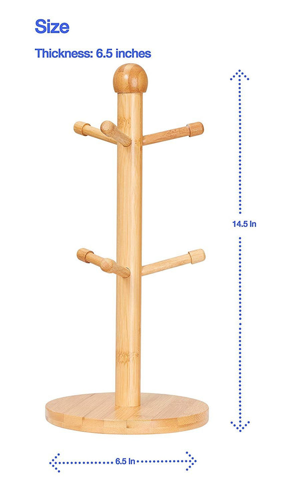 Bamboo Mug Tree with 6 Hooks