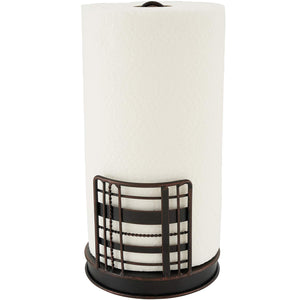 Home Intuition Plaid Collection Paper Towel Holder - Antique Black