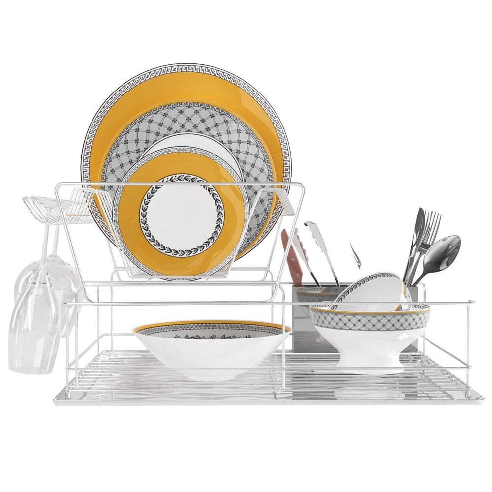 2-Tier Steel Dish Drying Rack Set with Drainer Board and Utensil Cup, Chrome