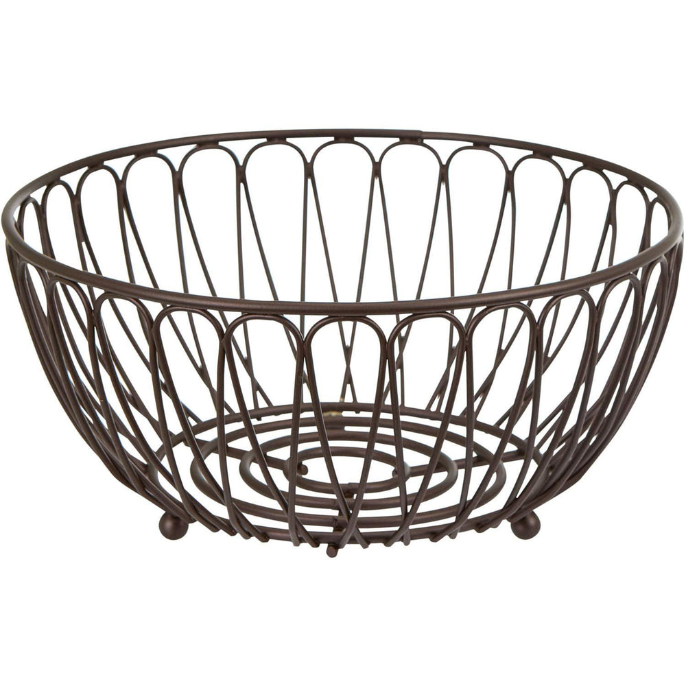 Home Intuition Infinity Collection Wire Fruit Bowl Basket for Kitchen and Dining Room, Black