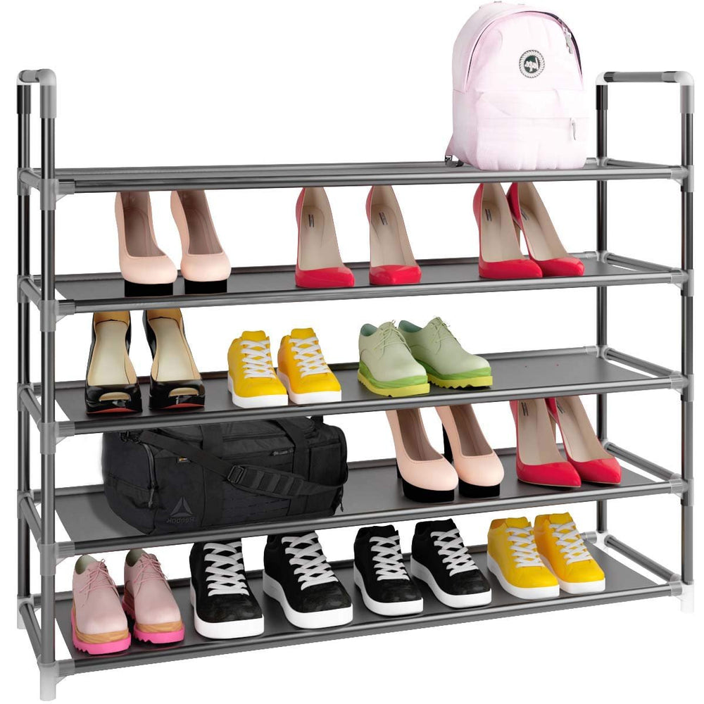 Home Intuition 5 Tiers 25 Pairs Shoe Rack Tower Shelf and Organizer Cabinet, Black