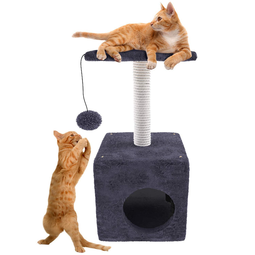 "Cat Tree Scratching Post with Hanging Ball and Play House, Grey, 22"" High"