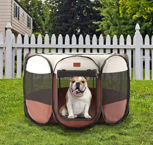 Home Intuition Portable Foldable Pet Playpen Kennel for Dogs and Cats with Removeable Sun Shade