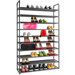 10 Tiers 50 Pairs Shoe Rack Shelf Organizer, Black