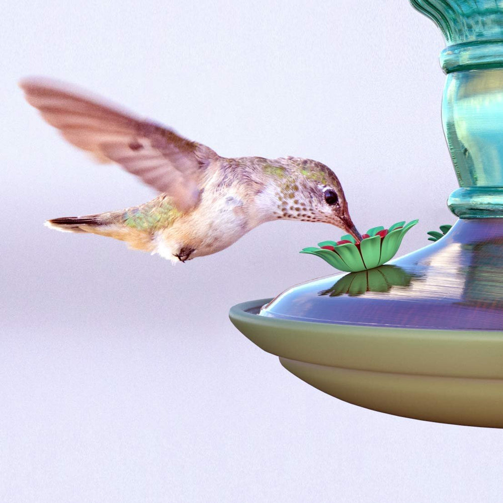 Antique Glass Hummingbird Feeder Green 10 oz Bottle, 2 Pack