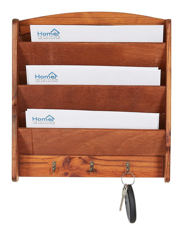 Home Intuition Wall Mount Letter Rack 3 Tier with Key Hooks