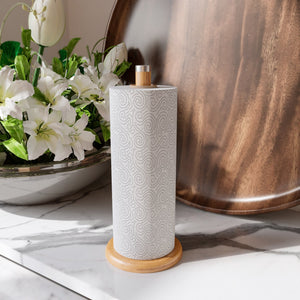 Home Intuition Counter Top Slim Bamboo Paper Towel Holder