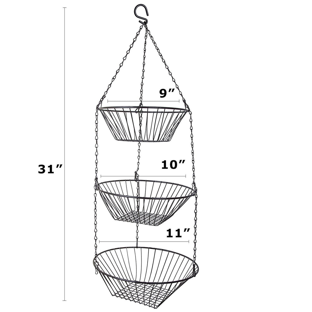 3-Tier Wire Kitchen Hanging Basket, Black