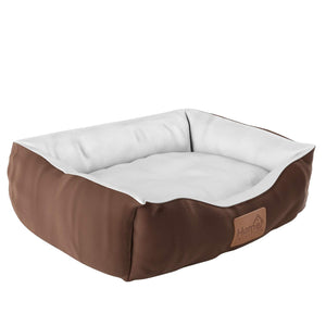 Home Intuition Pet Bed for Dogs and Cats, Vegan Suede with Plush Lining, Brown