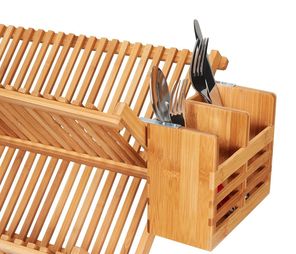 Home Intuition Bamboo Flatware and Utensil Organizer Caddy and Drying Rack