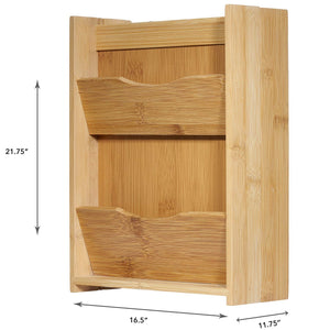 Bamboo Letter Rack and Key Box Holder Organizer