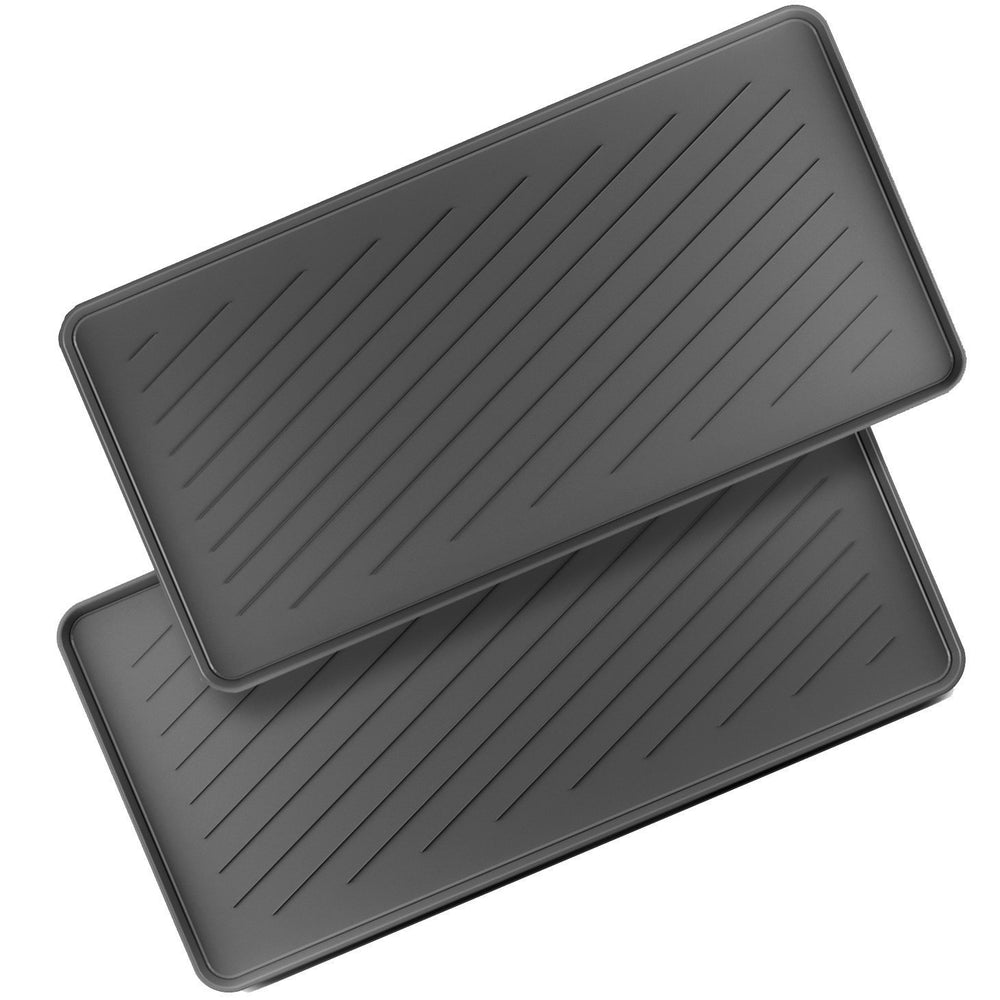 Boot Tray Multi Purpose All Weather Black Rubber Indoor Outdoor, 2 Pack