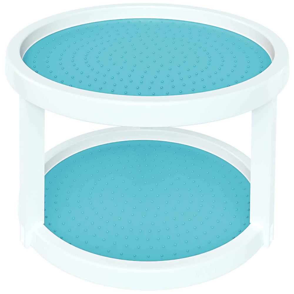 2-Tier Twin Turntable Non Skid Lazy Susan, Turquoise