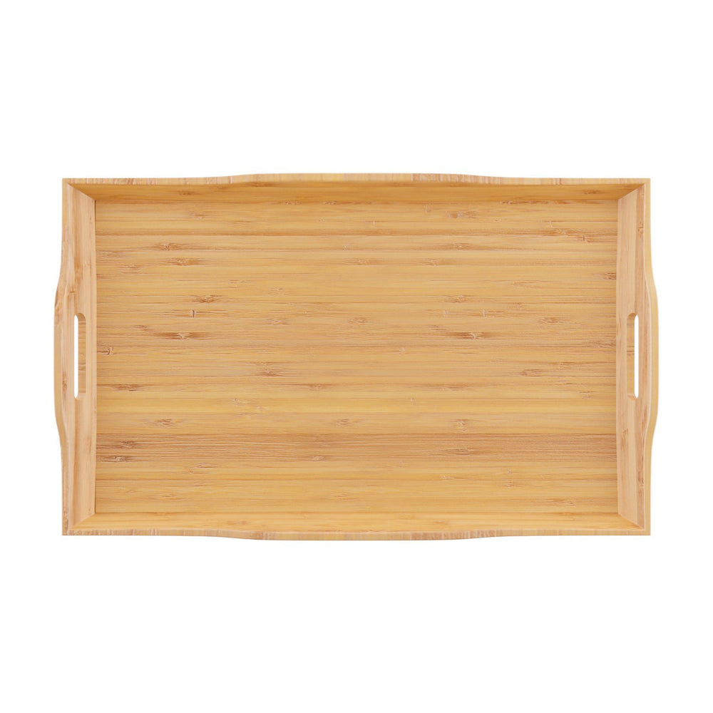 Home Intuition Bamboo Butler Serving Tray with Handles