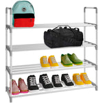 Home Intuition 4-Tier 2- Pair Shoe Rack Tower Shelf Storage Organizer Cabinet, Grey
