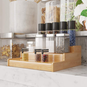3-Tier Expandable Bamboo Spice Rack Step Shelf Cabinet Organizer