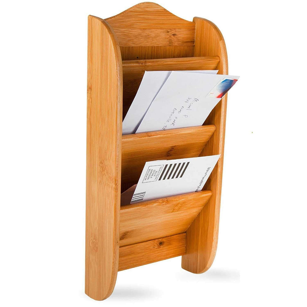 Home Intuition Wall Mount Bamboo Mail Letter Holder Organizer Rack, 3 Slot