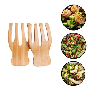 Bamboo Salad Servers Tongs