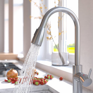 Home Intuition Modern Commercial Pull Down Single Handed Kitchen Faucet Spray (Brushed Nickel)
