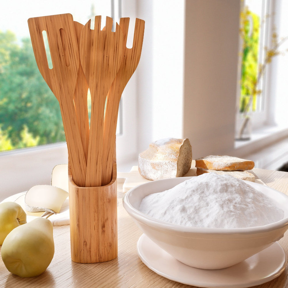 5 Piece Bamboo Utensils with Sleek Holder