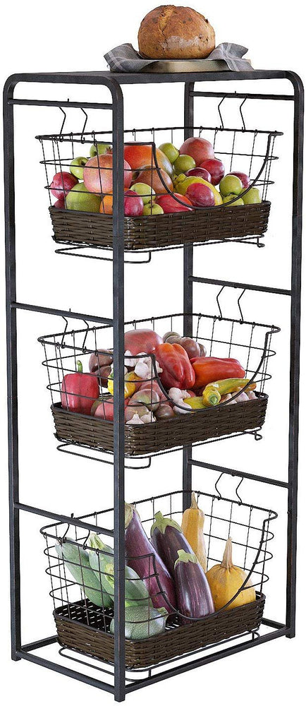 3-Tier Iron Woven Removable Stackable Market Storage Baskets with Frame and Shelf