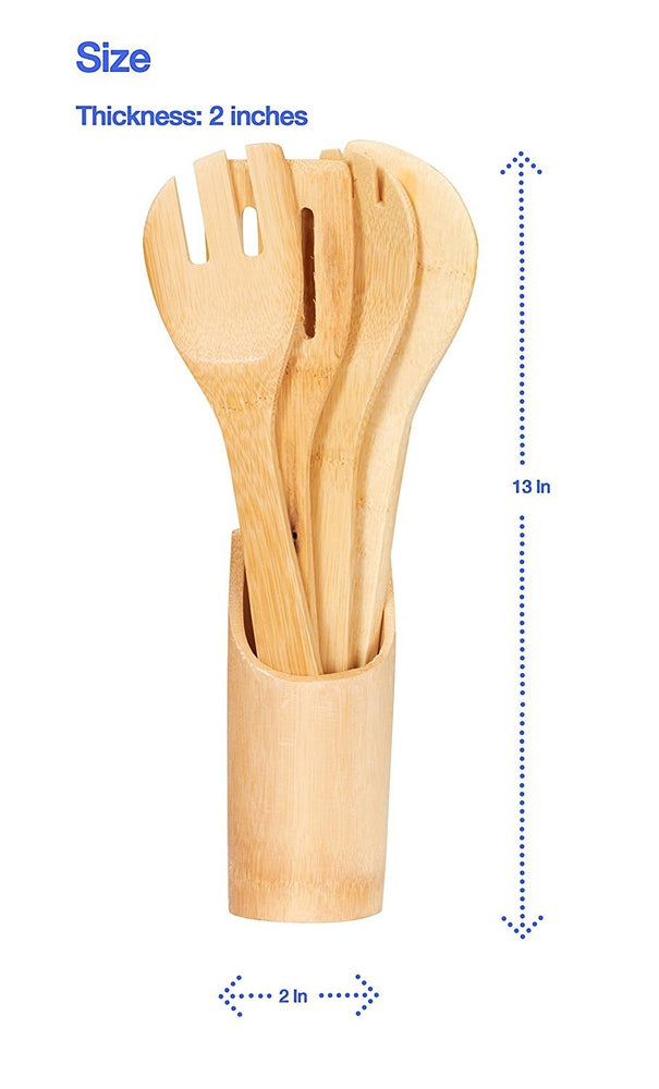Home Intuition 5 Piece Bamboo Utensils with Sleek Holder