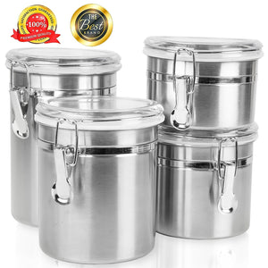 Home Intuition Round Stainless Steel Airtight Canister Set with Clear Acrylic Lid and Locking Clamp, Set of 4