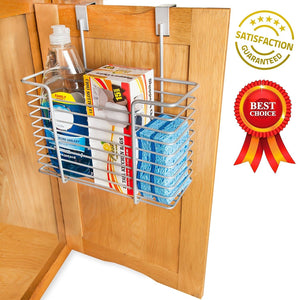 Home Intuition Over the Cabinet Door Organizer Holder, Silver (2)