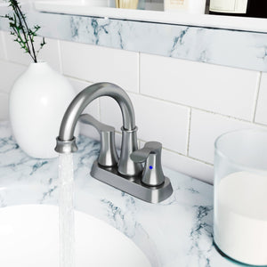 2-Handle Bathroom Sink Faucet Brushed Nickel with Drain