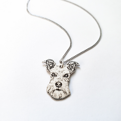 Mini Schnauzer Dog Sterling Silver Photo Necklace on Curb Chain