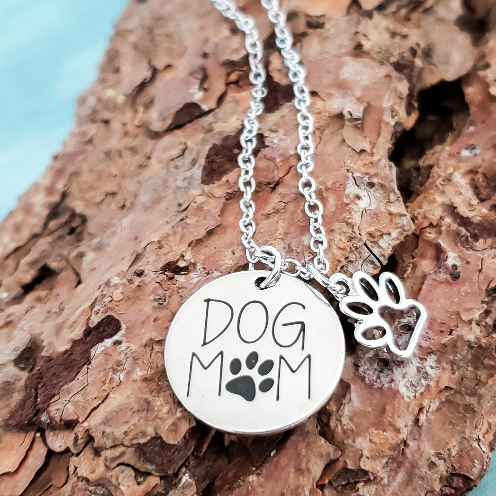 Dog Mom with Paw Charm Necklace