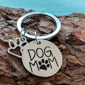 Dog Mom with Paw Charm Keychain - Jasper Go Fetch