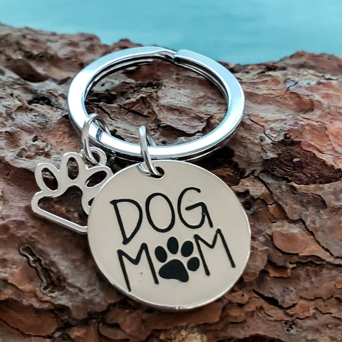 Dog Mom with Paw Charm Keychain