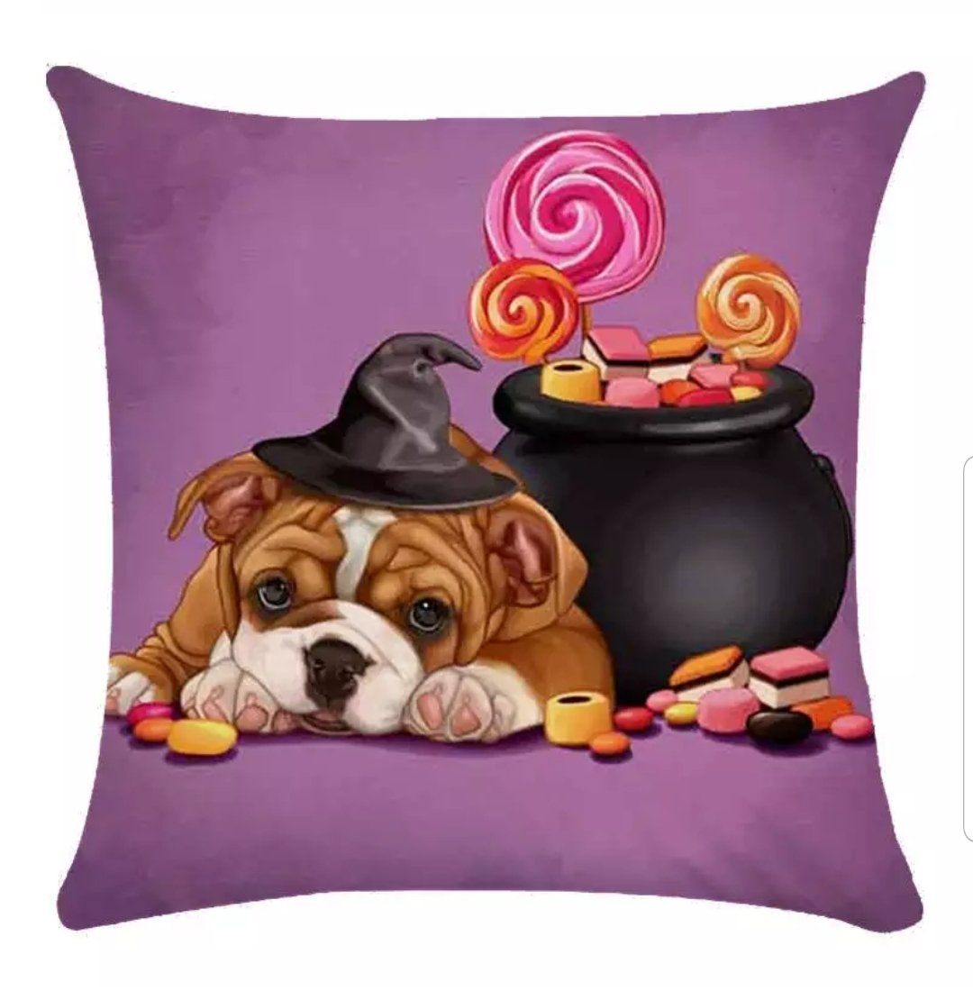 Halloween Bulldog Pillow Cover - Jasper Go Fetch