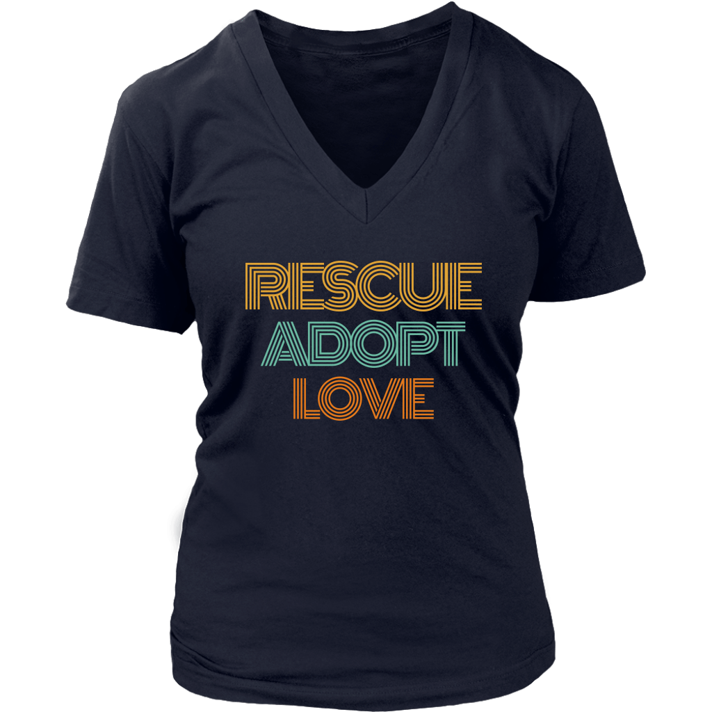 Rescue Adopt Love V-Neck Tee - Jasper Go Fetch