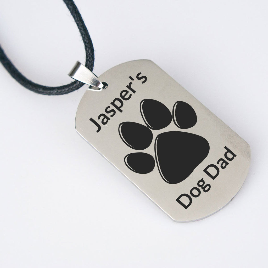 Personalized Dog Tag Pawprint Necklace - Jasper Go Fetch