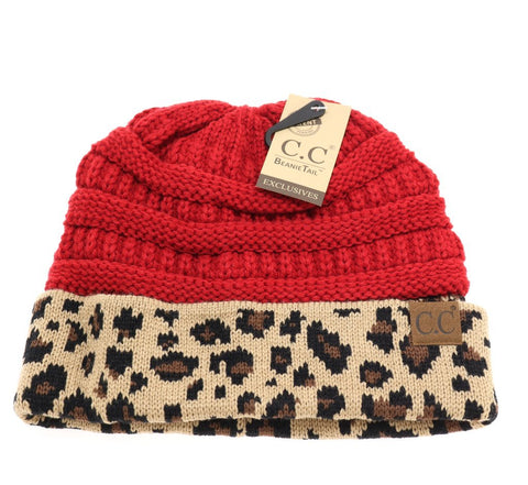 Ponytail Messybun LeopardPrint CC Beanies