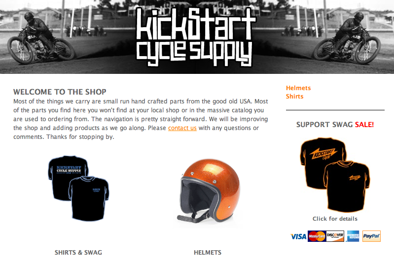 Kickstart Cycle has Biltwell Helmets!