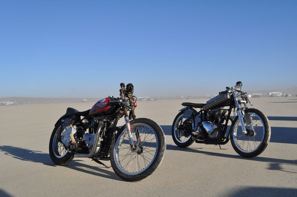 Land Speed Racing out at El Mirage with Wes White of Four Aces Cycle