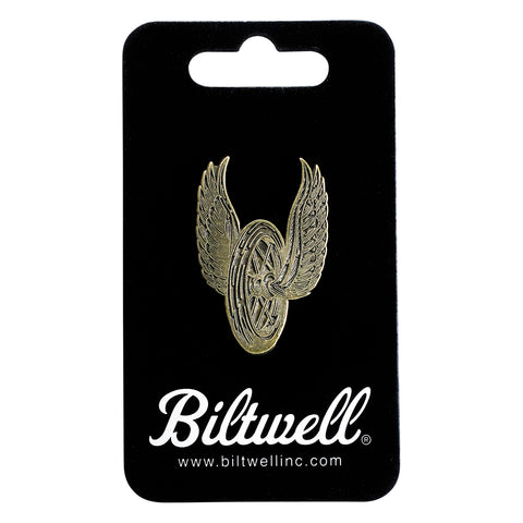 Enamel Pin Winged Wheel - Brass