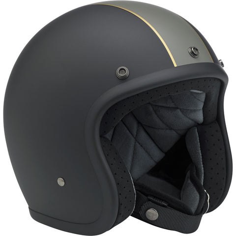 CLOSEOUT Bonanza DOT Open Face Helmet - Racer Black Grey Gold - XSM ONLY