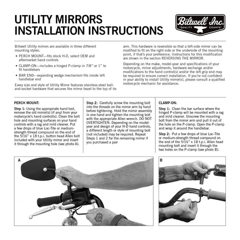 "Utility Mirror Short Arm Round CE Clamp-on 1"" - Black"