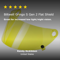Gringo S Gen 2 Flat Shield - Yellow