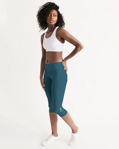 Solid Teal Mid-Rise Capri Leggings