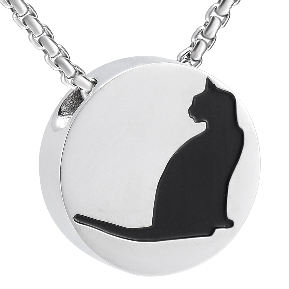 Black and silver cat engraved cremation urn necklace stainless black and silver cat engraved cremation urn necklace stainless steel mozeypictures Image collections