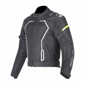 Bela Artex Motorcycle Touring Summer Textile Jacket - Black/FluroYellow